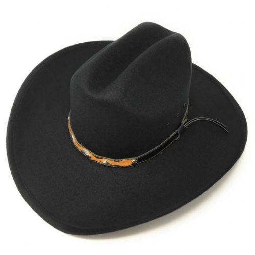 Black Cowboy Hat - Felt with Black & Brown Concho Band